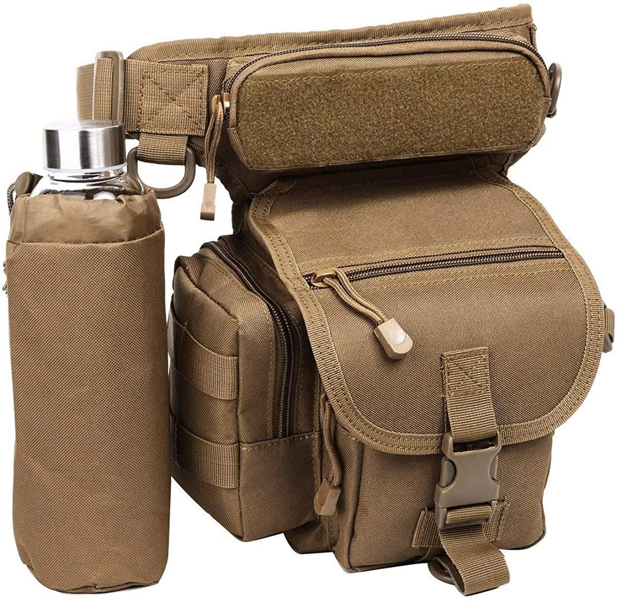 Eshow Men's Drop Leg Pouch Tools Bags Tactical Leg Bag Fanny Pack Thigh Bags Bike Cycling Hip Bag Canvas Waist Packs (Brown205)