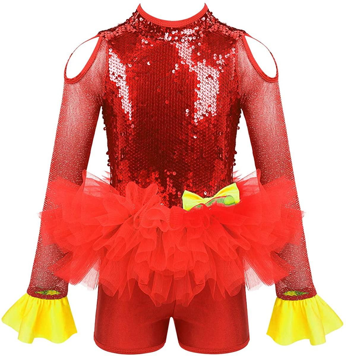ACSUSS Kids Girls Sequins Ballet Leotard Jumpsuit Hip-hop Latin Jazz Dancing Dress Stage Performance Dance Costume