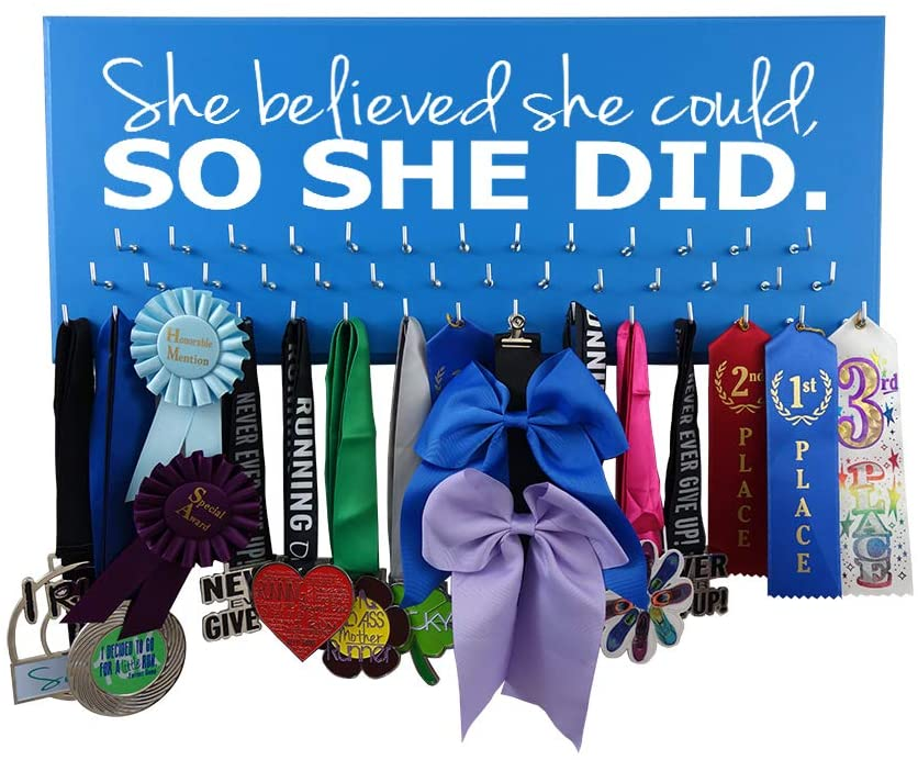 Medal Display - SHE Believed SHE Could, SO SHE DID - All Sports - Running - Gymnastics - Swimming - Cheerleading - Soccer
