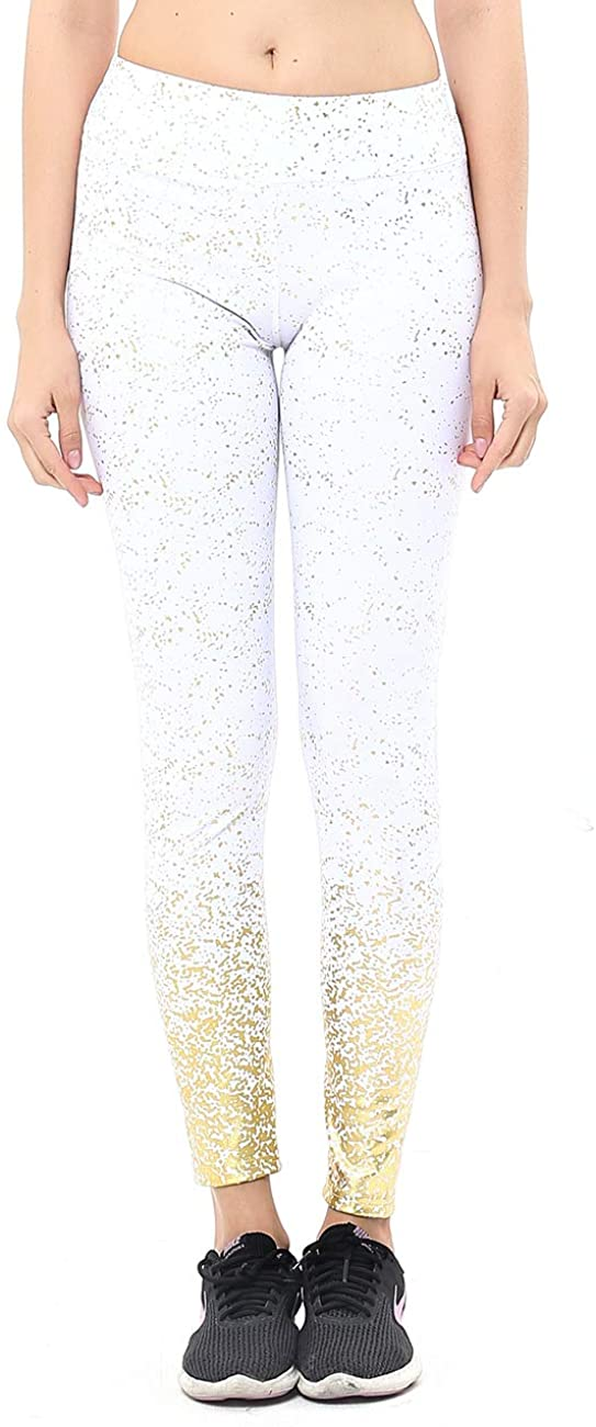 Gold Glitter Legging, Women's Home Indoor Sports Yoga Print Hot Stamping Workout Athletic Fitness Sports Pants