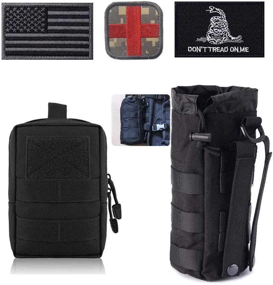 Molle Pouches - Tactical Compact Water-Resistant EDC Utility Pouch Bags USA US American Flag Military Patches