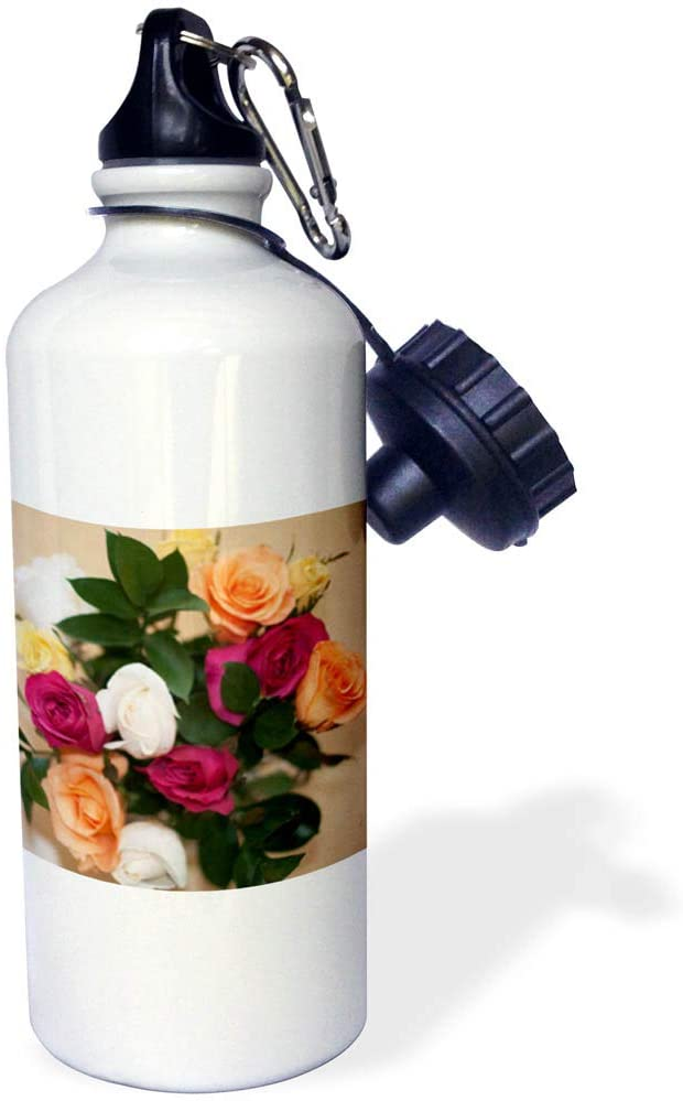 3dRose Jos Fauxtographee- Roses - A Gorgeous Bouquet of Roses in Pink and Peach with White and Green - 21 oz Sports Water Bottle (wb_320076_1)