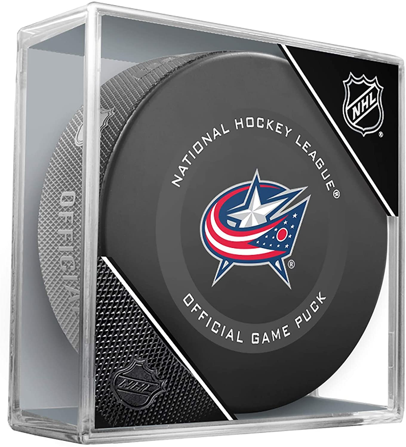 Columbus Blue Jackets Official Game Hockey Puck with Holder