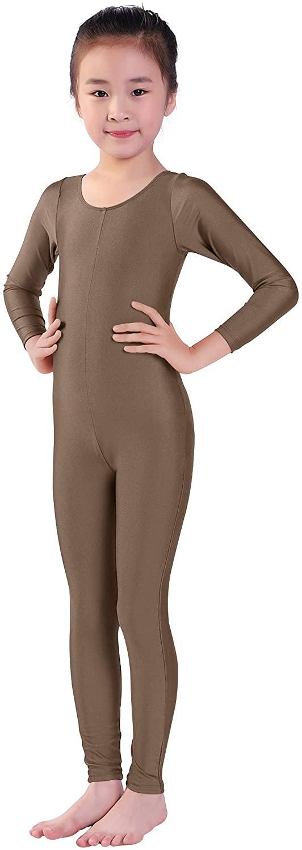 Kepblom Girls Scoop Neck Long Sleeve Unitard Bodysuit Dancewear For Child