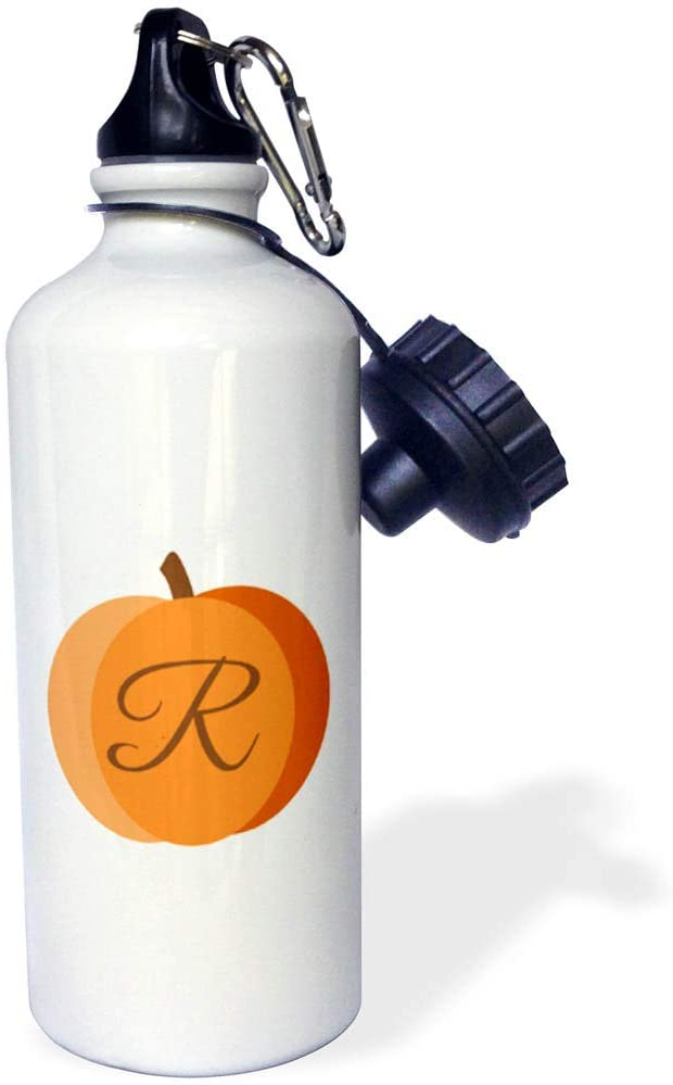 3dRose Stamp City - Typography - Monogram Cursive R Inside an Orange Pumpkin on a White Background. - 21 oz Sports Water Bottle (wb_322884_1)