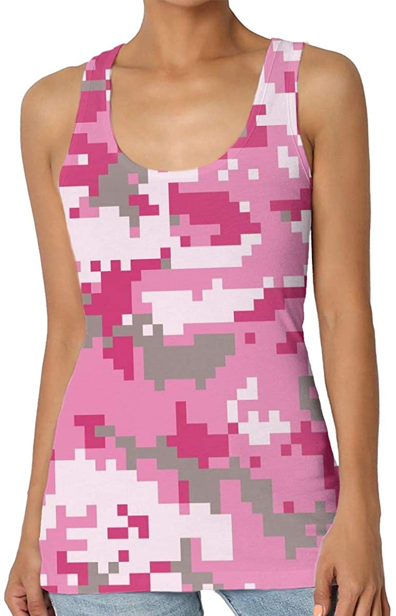 Women's Tank Top Pink Military Camouflage 3D Printed Sleeveless Racerback Vest Shirts