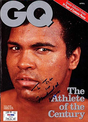 Muhammad Ali Autographed GQ Magazine CoverTo Tim #AB04645 - PSA/DNA Certified - Autographed Boxing Magazines