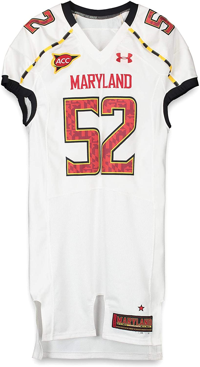 Maryland Terrapins Team-Issued #52 White Jersey with ACC Patch - Size 46 - Fanatics Authentic Certified
