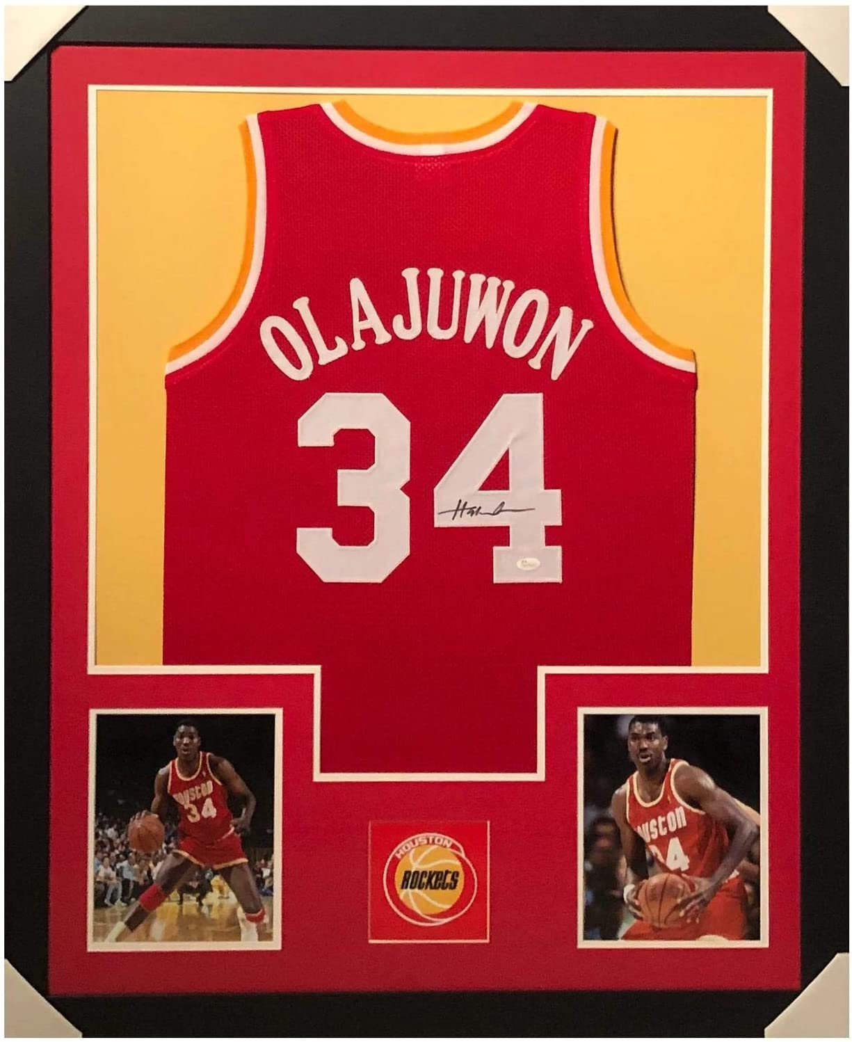 Signed Hakeem Olajuwon Jersey - Framed Vertical Layout Pro Edition Red JS - Autographed NBA Jerseys