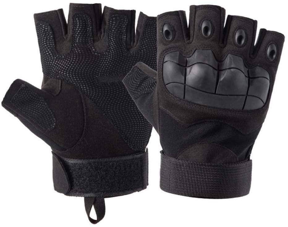 QIEZI Outdoor Fingerless Gloves Hiking Hunting Climbing Cycling Gym Riding Half Finger Gloves-Black_M