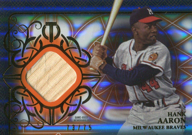 Hank Aaron Unsigned 2015 Topps Tribute Bat Card - Slabbed Baseball Cards