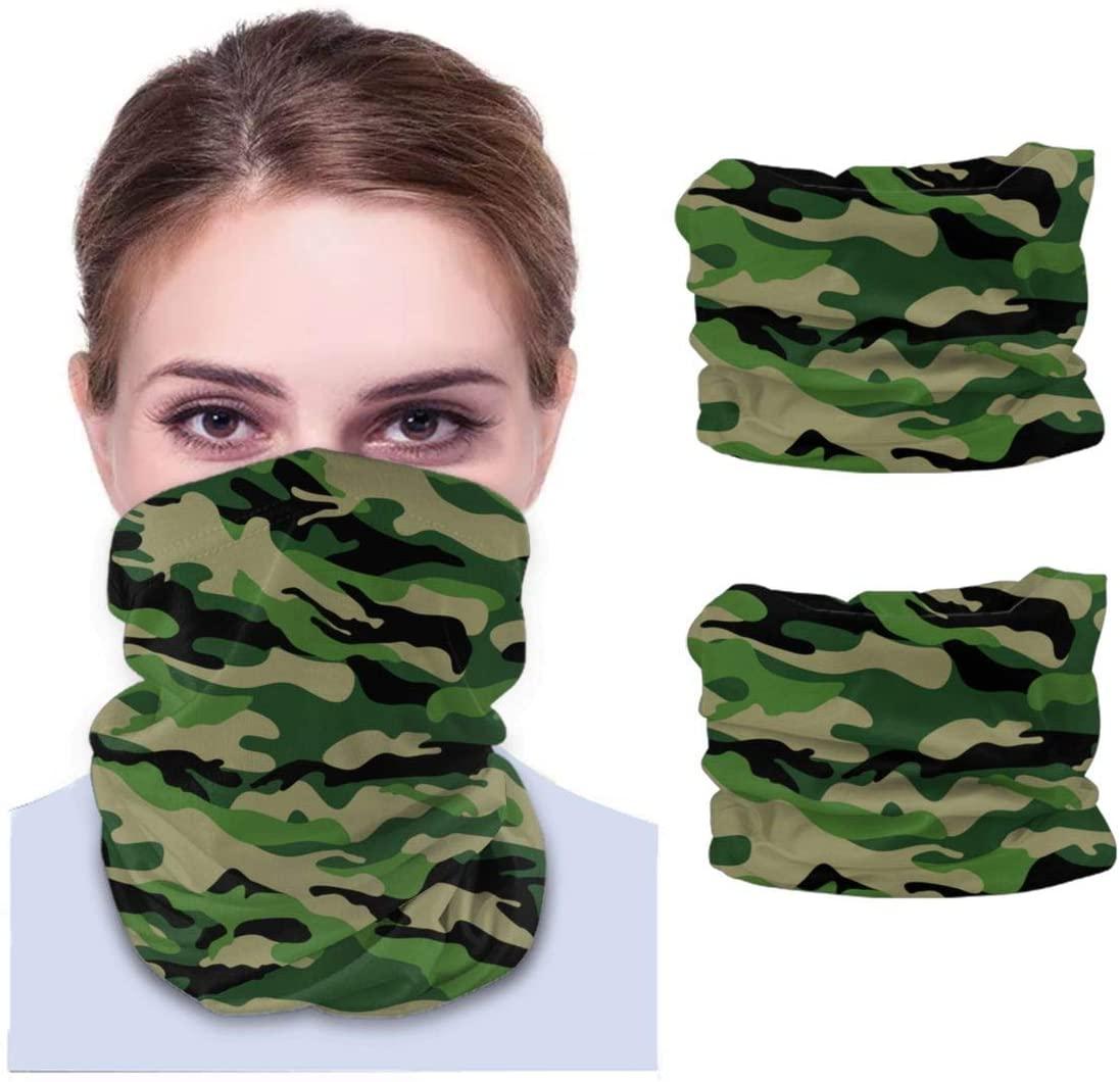 Neddelo 2pcs Bandana Face Cover, Dustproof Windproof Variety Head Scarf,Green Camouflage Balaclava for Women Men