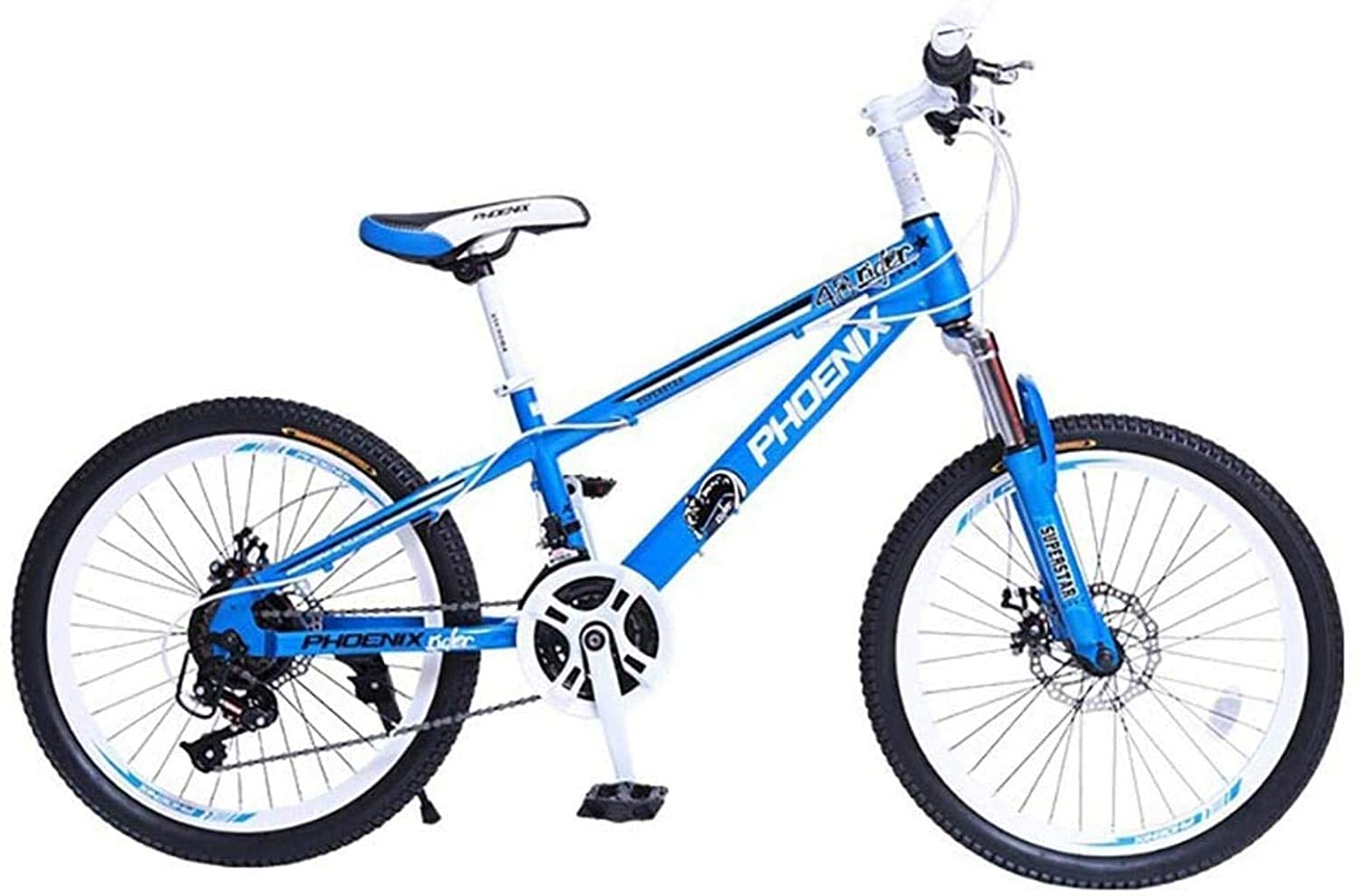 CSS Mountain Bike with Shock Absorption The Suspension Fork, Frame Made of Carbon Steel 21 Gear Non-Slip Handle Bicycle Double Disc Brake 6-11,20Inch