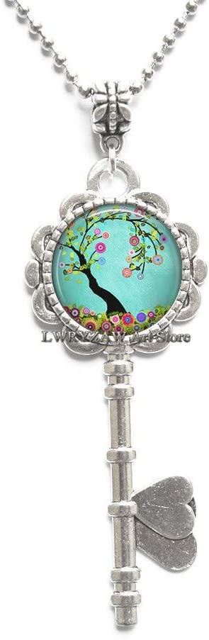 Flowering Tree Key Necklace, Flowering Tree Pendant Tree Jewelry Spring Jewelry Easter Jewelry Flower Jewelry,M379