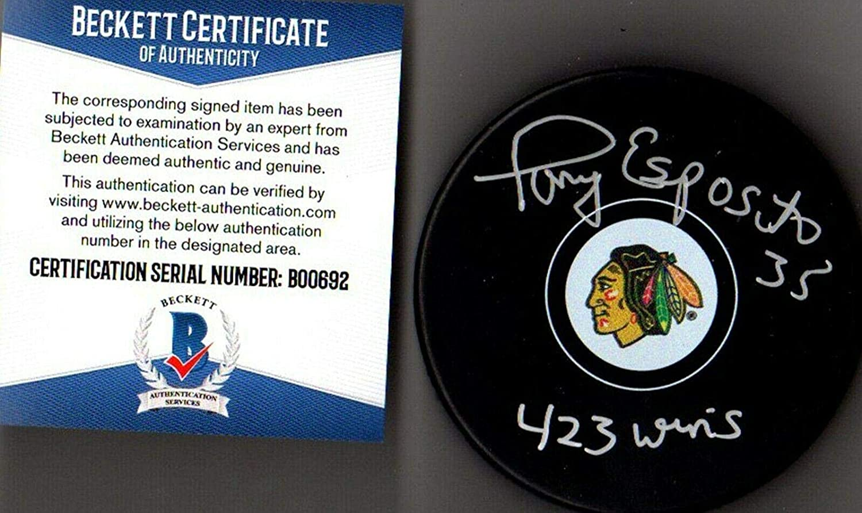 Beckett-bas Tony Esposito423 Wins Autographed-signed Blackhawks Puck B00692 - Beckett Authentication