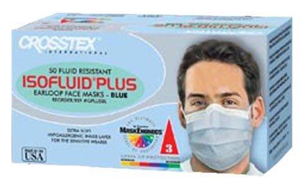 Crosstex GPLUSKA Latex-Free Isofluid Plus Earloop Mask, Kaleidoscope (Pack of 50),Blue