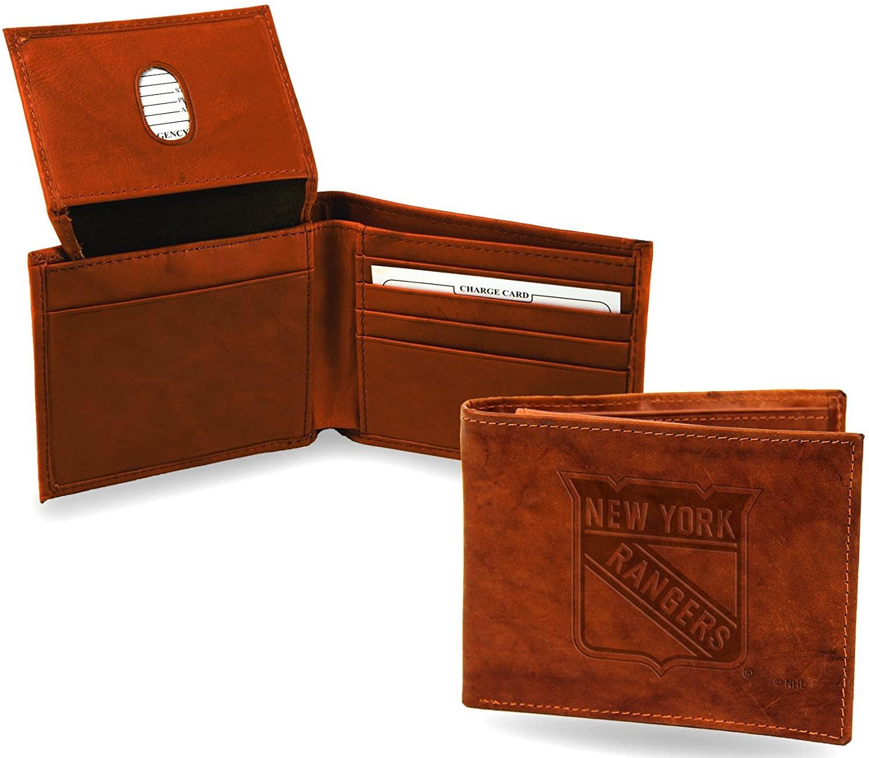 New York Rangers Wallet Premium Brown LEATHER BillFold Embossed Bifold Hockey