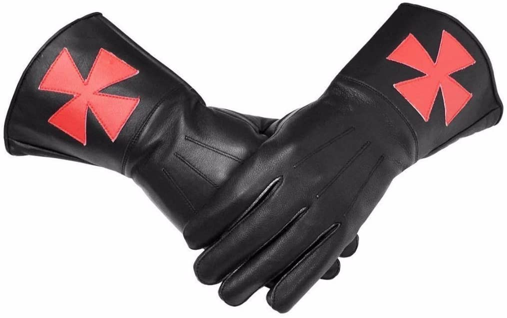 Bricks Masons Knight Templar Black Gauntlets Red Cross Soft Leather Gloves