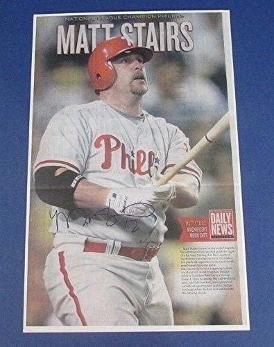 Matt Stairs Philadelphia Phillies Signed 11X17 Daily News Print 123209 - Autographed MLB Art