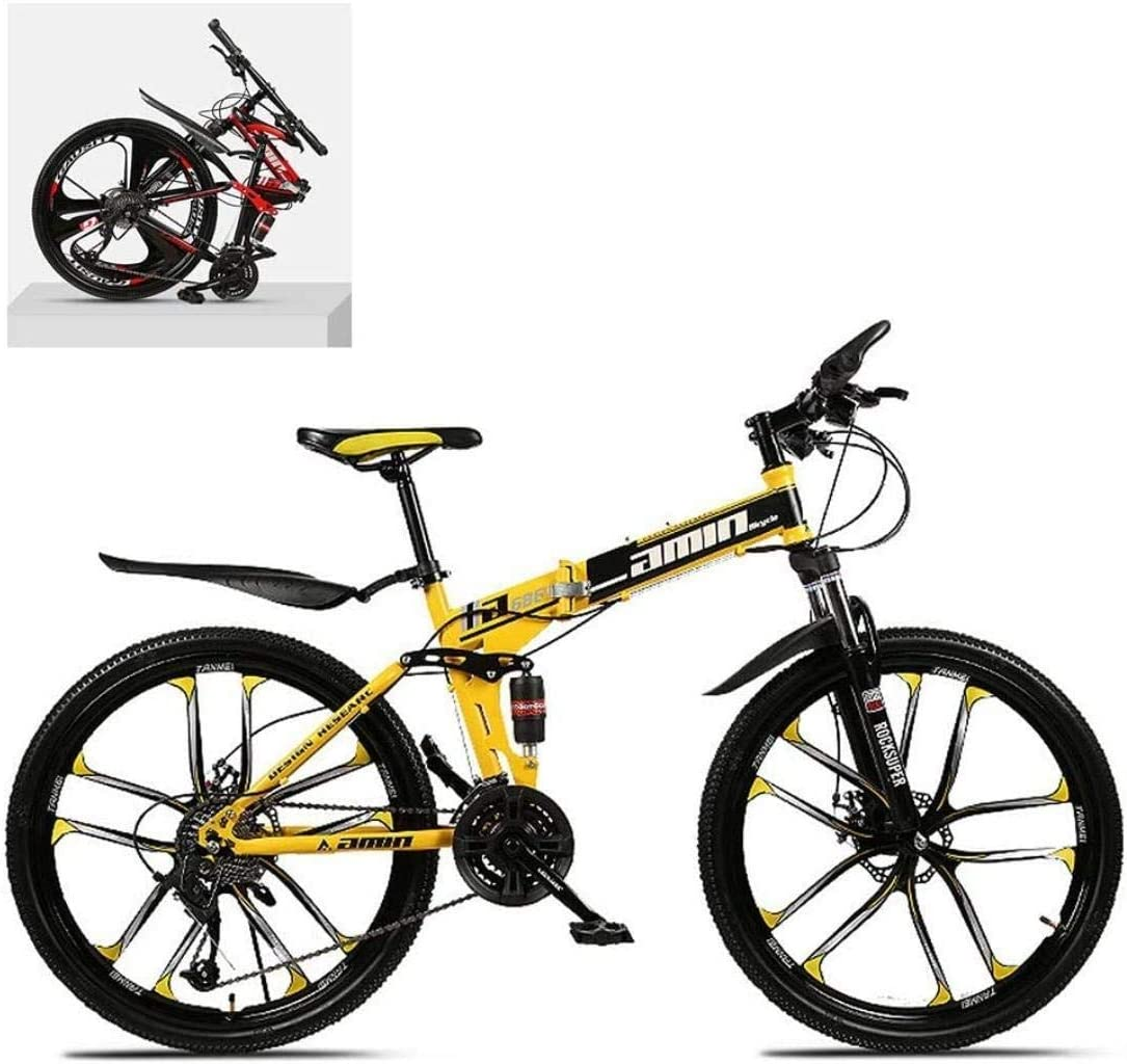 CSS 26 inch Folding Mountain Bikes,High Carbon Steel Frame Double Shock Absorption Variable,All Terrain Quick Adult Mountain Off-Road Bicycle 6-11,27 Speed