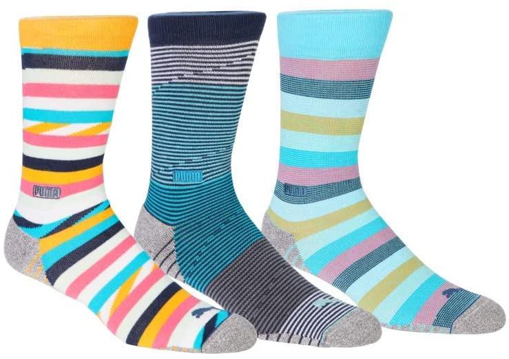 PUMA Golf 2020 Men's Fusion Stripe Crew Sock 3 Pair Pack (Men's, Multi,7-12)