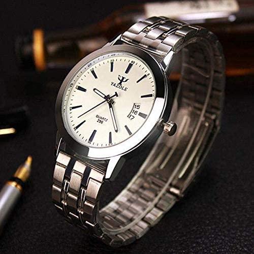 YAZOLE Stainless Steel Analog Display Date Waterproof Quartz Watch Business Wristwatch for Men Online