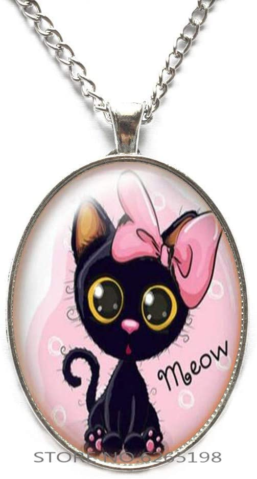 Cat Charm Necklace, Glass Dome Cat Necklace,Black Cat Gift, Cat Lover Gift,Cat Necklace Pendant Glass Pendant,N059