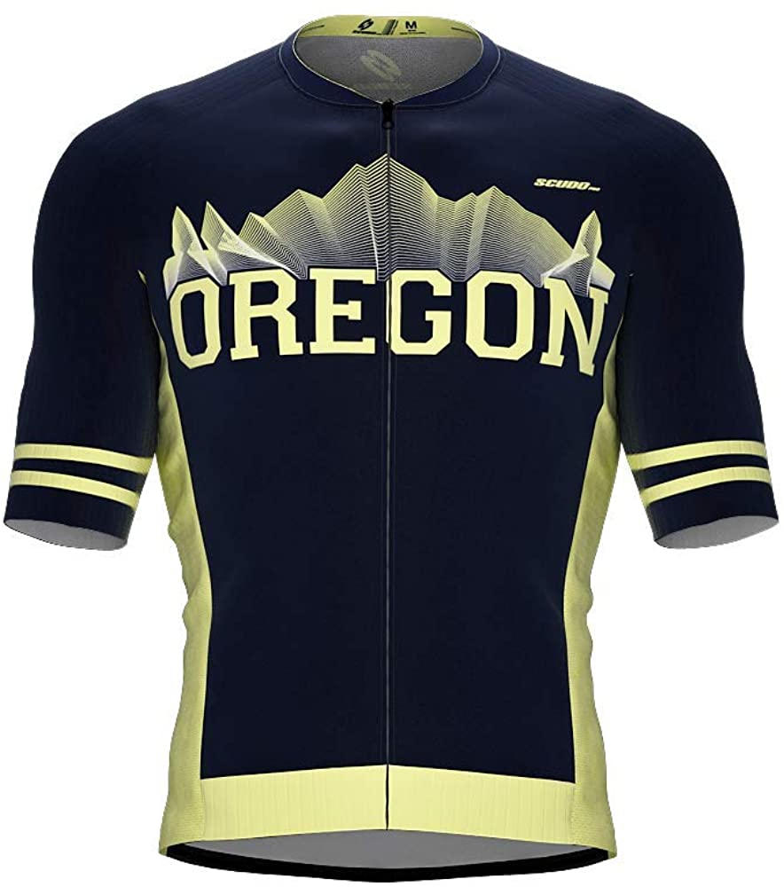 ScudoPro Pro-Elite Short Sleeve Cycling Jersey Oregon USA State Icon Landmark Symbol Identity for Men
