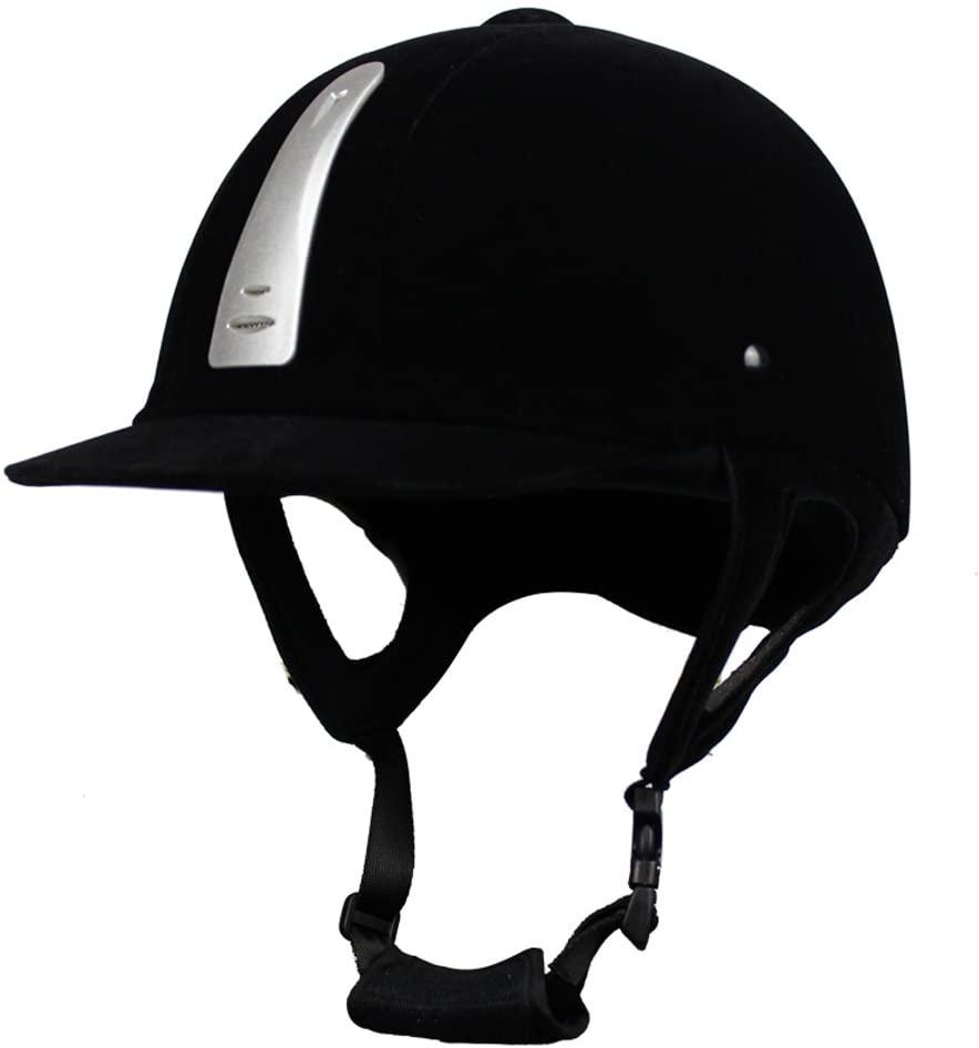 UNISTRENGH Velvet Texture Equestrian Helmet Deluxe Horse Riding Schooler Performance Helmet