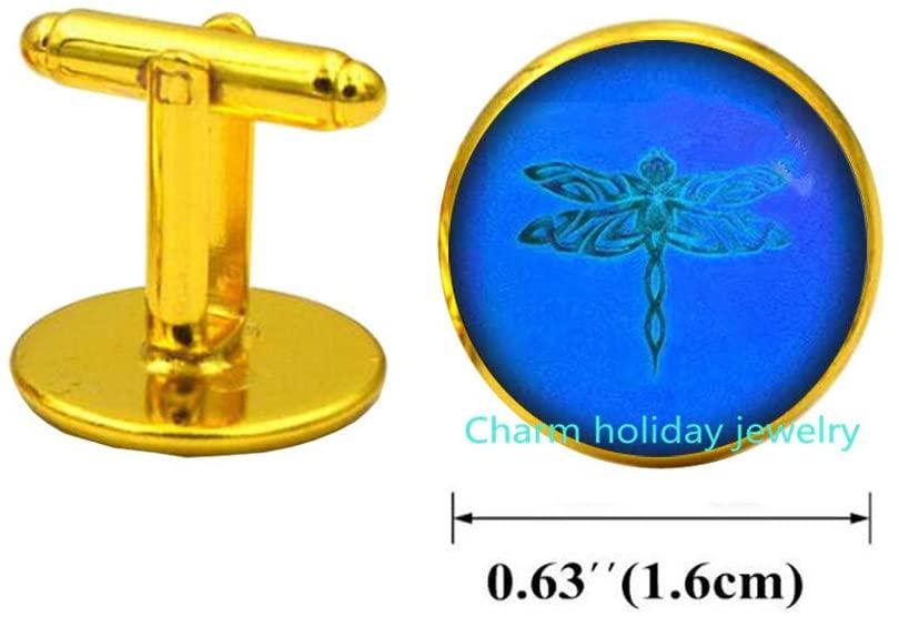 Blue Dragonfly Cufflinks Steampunk Dragonfly Gift Dragon Fly Cufflinks Dragonfly Cuff Links Grunge Dragonfly Jewelry Cuff Links Gift-#301