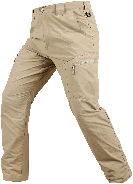 YEVHEV Hiking Pants for Men Quick Drying Tactical Waterproof Elastic Uniform Casual Cargo