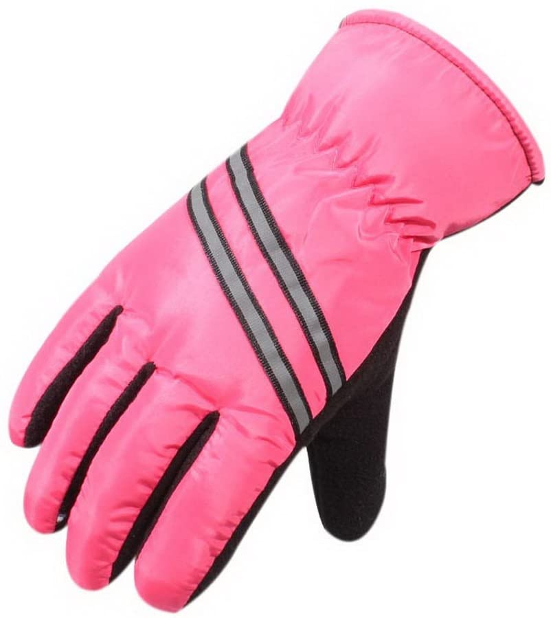 Gentle Meow Winter Ski Gloves Women Waterproof Warm Gloves for Hiking Striped Style Rose Red