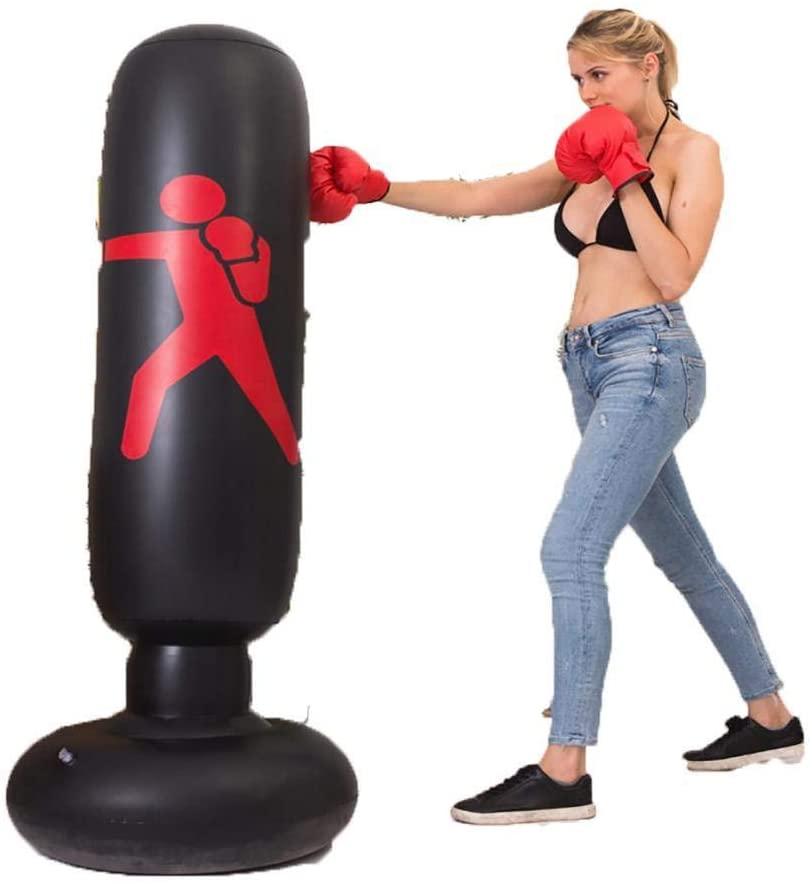 Lanbter Inflatable Punching Bag Tumbler Freestanding Target Training Tower Boxing Column Boxing Pads