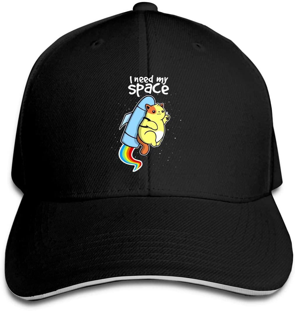 IASIFD I Need My Space Unisex Flex-fit Hat Hip Hop Baseball Cap Sun Hat Outdoor Cap Black