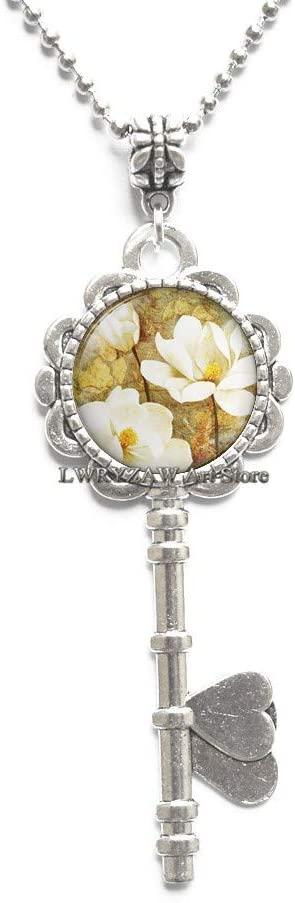 Southern Magnolia Pendant, Magnolia Flower, Magnolia Jewelry Magnolia Key Necklace Resin Pendant,M279