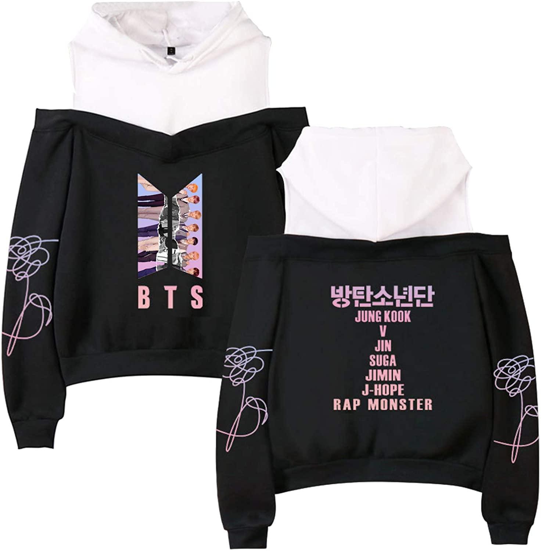 DHSPKN BTS Off Shoulder Hoodie Bangtan Boys Pullover Top Blouse Jungkook Suga Jimin Jacket