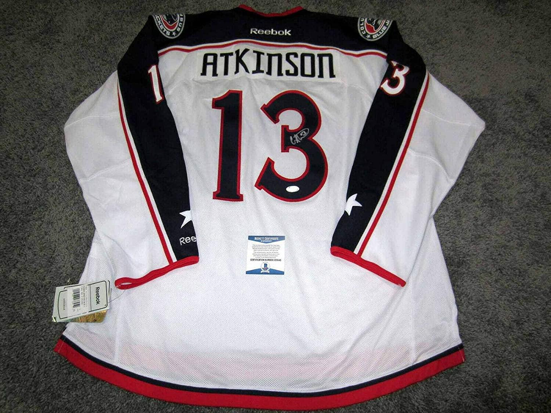 Autographed Cam Atkinson Jersey - w BAS COA New XL - Beckett Authentication - Autographed NHL Jerseys