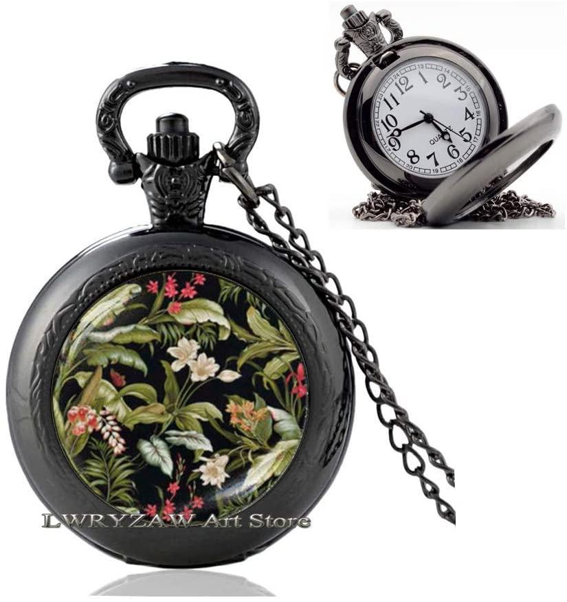 Victorian Style Art Print Pocket Watch Necklace,Victorian Floral Pocket Watch Necklace,Black Art Flower Pendant, Floral Print Pocket Watch Necklace,M167