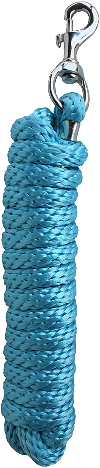 CHALLENGER 10' Horse Nylon Soft Poly Braided Lead Rope w/Nickle Plated Snap 60564