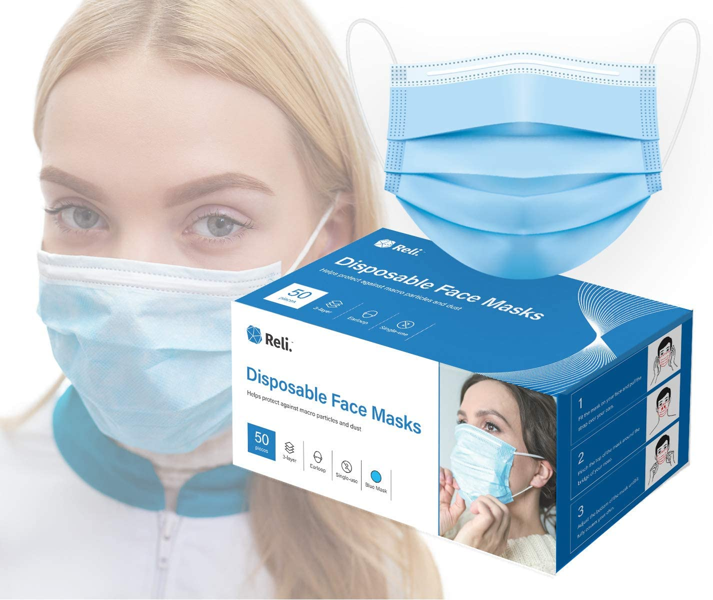 Reli. Face Masks (50 Masks) Disposable Face Mask Protection with Filter Layer - 3 PLY - Breathable, Ear Loop Mask 50 Pack Pcs (Blue)