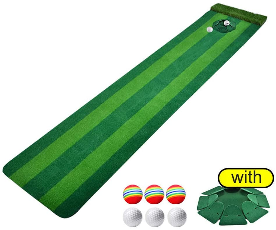 TriGold Portable Golf Putting Green with Practice Ball,Professional Putting Green Mat with Movable Hole,Mini Putting Mat for Home Office