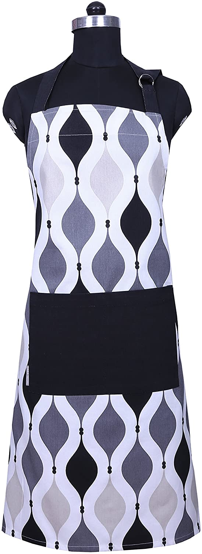 CASA DECORS Apron, Unique Black & Gray Geometric Design, Aprons for Women with Pockets, 100% Natural Cotton, Eco-Friendly & Safe, Adjustable Neck & Waist Ties, Machine Washable, Cute Apron