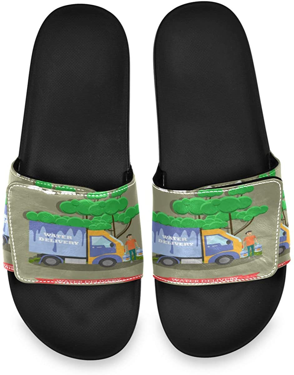 Water Delivery Truck and Man Mens Summer House Slippers Slide Open Toe Slip On Wide Sandals Boys