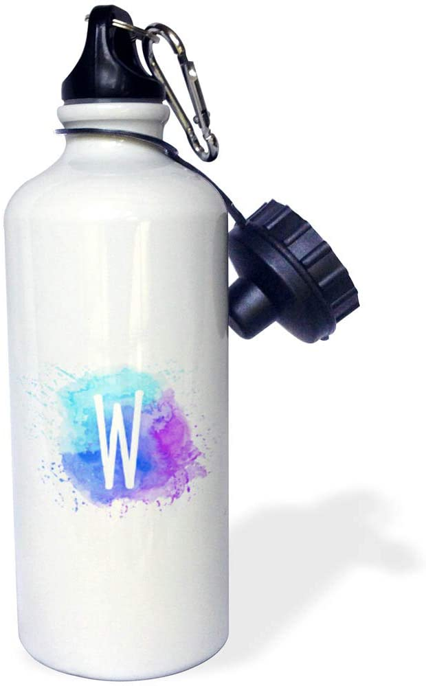 3dRose Stamp City - Typography - Monogram Letter W Inside a Teal, Blue, and Purple Paint Splash. - 21 oz Sports Water Bottle (wb_324843_1)