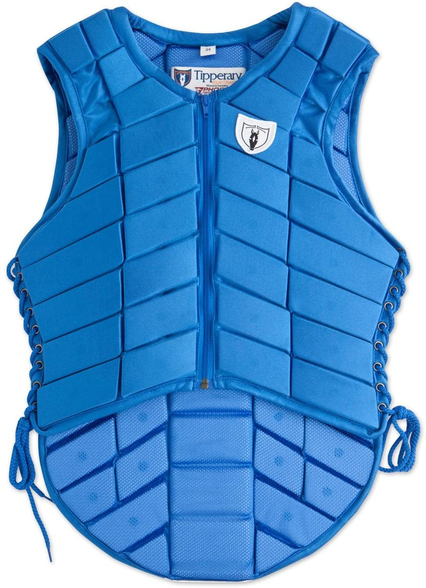 TIPPERARY EQUESTRIAN Horse Riding Eventing Vest - Eventer - English Style Protective Horseback Riding Apparel - Flexible Customizable Fit Body Protector - Royal Blue - XXS