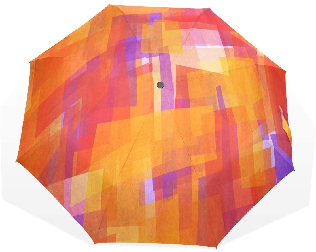 Umbrella Geometric Orange Travel Golf Sun Rain Windproof Umbrellas with UV Protection for Kids Girls Boys