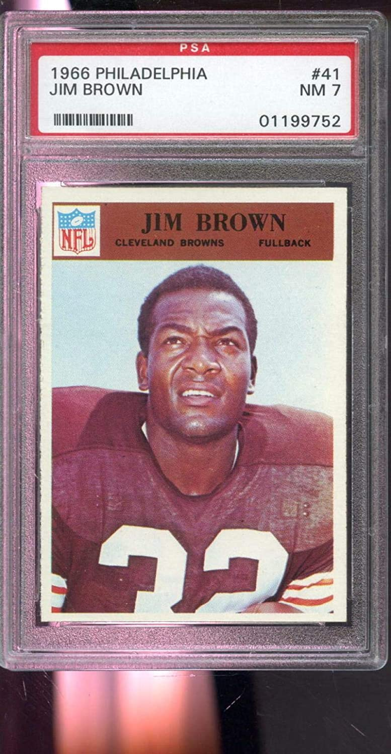 1966 Philadelphia #41 Jim Brown Cleveland Browns NM 7 Graded Football Card - PSA/DNA Certified - Football Slabbed Vintage Cards