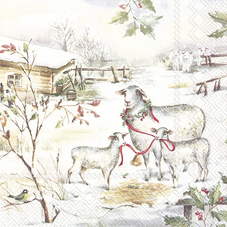 IHR 20 Luxury Paper Lunch Napkins- Sheeps in The Snow