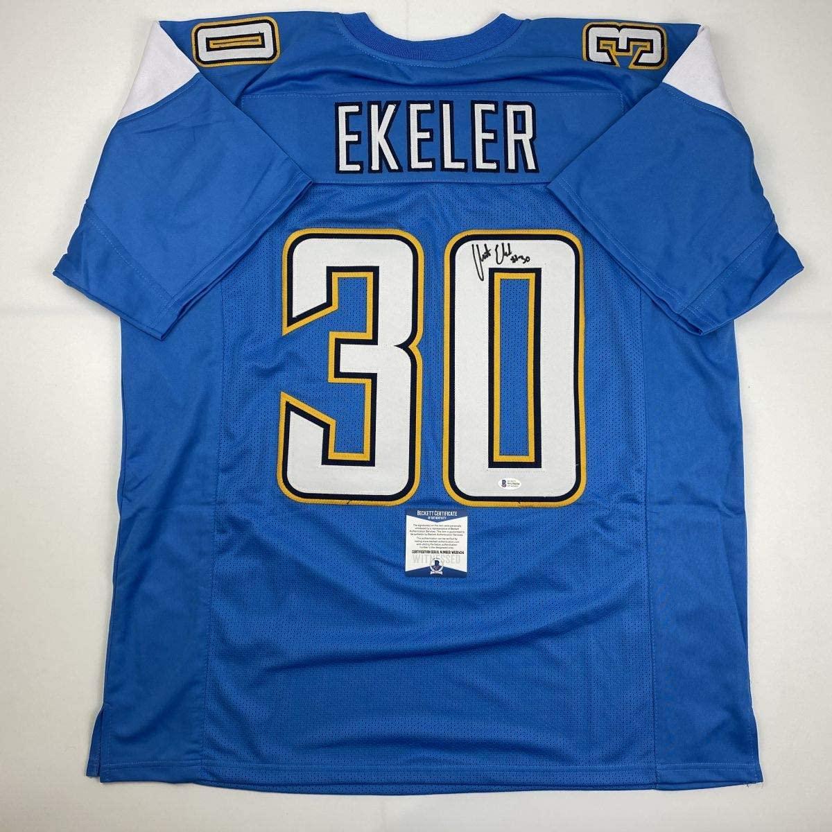 Autographed/Signed Austin Ekeler Los Angeles LA Powder Blue Football Jersey Beckett BAS COA