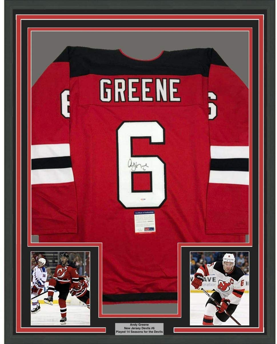Framed Autographed/Signed Andy Greene 33x42 New Jersey Red Hockey Jersey PSA/DNA COA